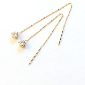 k18 イエローゴールド ダイヤモンド 0.3ct アメリカン チェーンピアス - 拡大画像