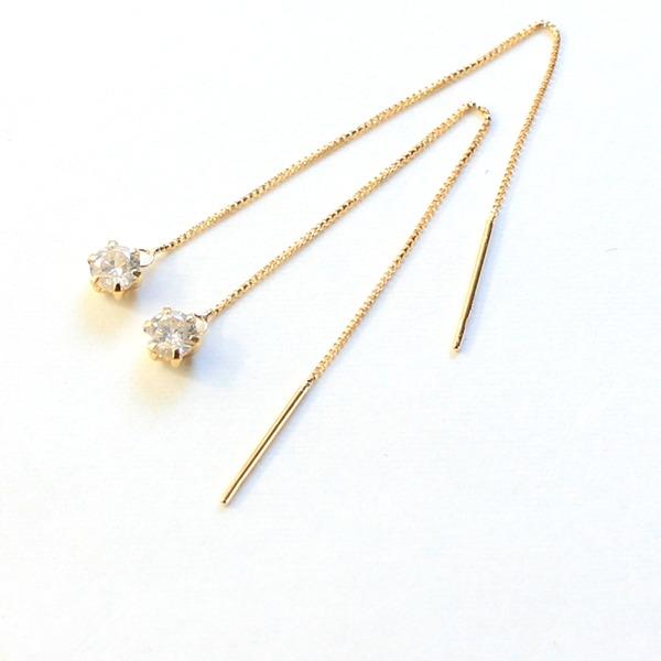 ダイヤモンド0.3ct k18  アメリカン チェーンピアス