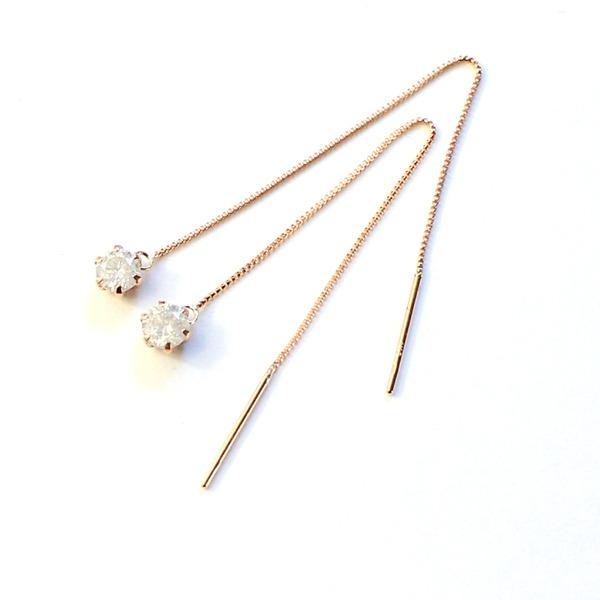 k18 ピンクゴールド ダイヤモンド 0.3ct アメリカン チェーンピアスf00