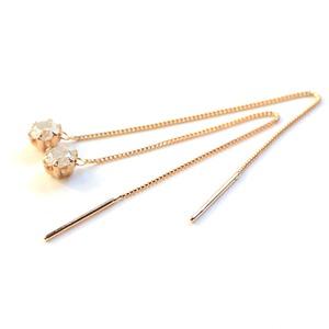 k18 ピンクゴールド ダイヤモンド 0.3ct アメリカン チェーンピアス h02