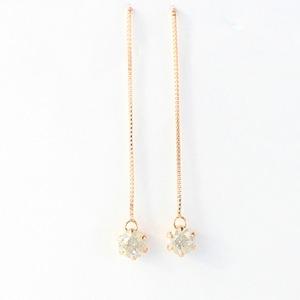 k18 ピンクゴールド ダイヤモンド 0.3ct アメリカン チェーンピアス h03