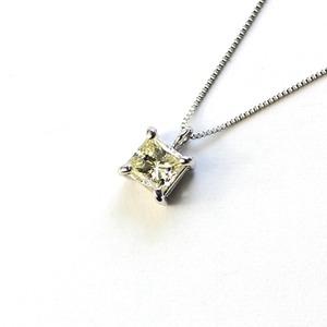 プラチナ イエローダイヤモンド プリンセスカット ネックレス ペンダント