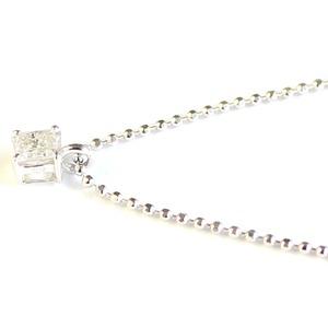 プリンセスカット ダイヤモンド ネックレス 0.15ct ペンダント カットボールチェーン