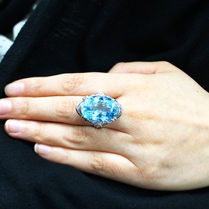 20ct ブルートパーズ ダイヤモンド リング13号 指輪 シルバー 誕生石