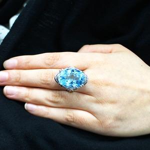 20ct ブルートパーズ ダイヤモンド リング15号 指輪 シルバー 誕生石