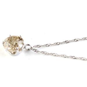 プラチナ 一粒 ダイヤモンド ネックレス ブラウンダイヤ ペンダント