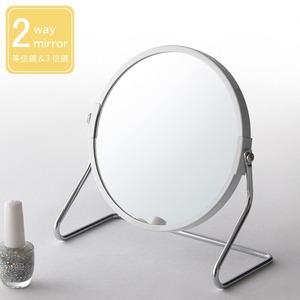 サークル卓上ミラー2WAY(3倍鏡/拡大鏡)ホワイト(白)丸型/飛散防止加工/角度調整可/アイアン/オーバル/カガミ/おしゃれ/完成品/NK-267