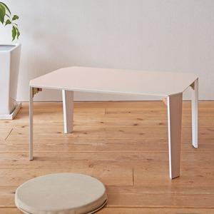リンネルテーブル(ライトベージュ) 長方形/幅75cm 折りたたみローテーブル/フォールディングテーブル/机/モダン/ナチュラル/完成品/NK-738 の画像