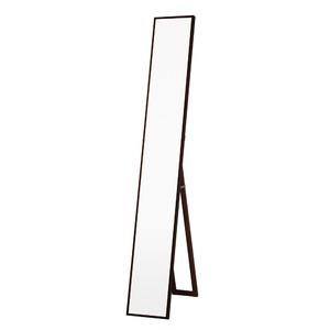 細枠スタンドミラー/姿見鏡 【スリム/ブラウン】 幅22cm 木製フレーム 飛散防止加工 折りたたみ可 日本製 【完成品】