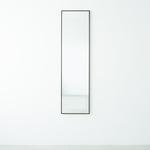 細枠ウォールミラー(壁掛け鏡) 木製/天然木/壁面/飛散防止加工ミラー/ワイド/NK-7  幅42cm×高さ153cm 日本製 ブラウン
