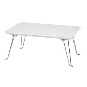 コンパクトテーブル(折りたたみテーブル/ローテーブル) 幅45cm 【ホワイト】 軽量 鏡面天板 【完成品】 の画像