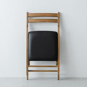 折りたたみ椅子(ブラウン/茶) イス/チェア/ダイニングチェア/フォールディングチェア/コンパクト/北欧風/木製/天然木/クッション/1人用/背もたれ付き/完成品/NK-026 の画像