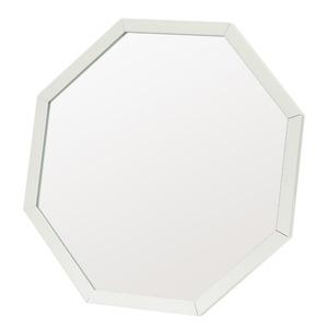 アルミフレーム卓上ミラー/ウォールミラー 【八角形/ホワイト】 飛散防止加工 角度調整可 【完成品】