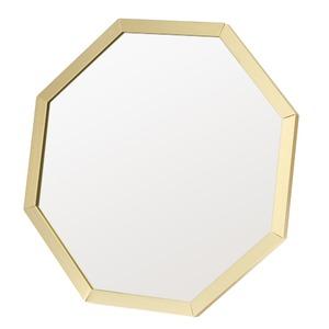 アルミフレーム卓上ミラー/ウォールミラー 【八角形/12個セット】 ゴールド(金) 飛散防止加工 角度調整可 【完成品】