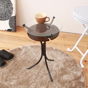 ガラストップサイドテーブル(ダークブラウン)  幅30cm ミニテーブル/オシャレ/円形/スリム/軽量/モダン/机/収納棚付き/NK-310
