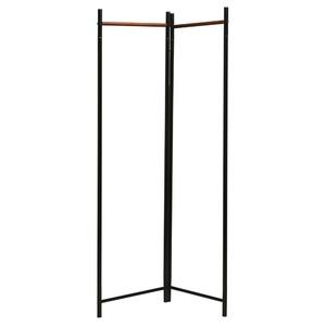 【3個セット】 フレームハンガーラック(折りたたみパイプハンガー) 幅44.5cm スチール×天然木 スリム ブラック(黒) h02