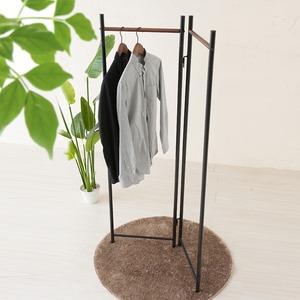 【3個セット】 フレームハンガーラック(折りたたみパイプハンガー) 幅44.5cm スチール×天然木 スリム ブラック(黒) h03