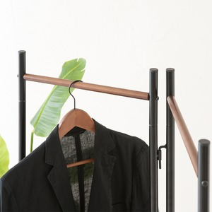【3個セット】 フレームハンガーラック(折りたたみパイプハンガー) 幅44.5cm スチール×天然木 スリム ブラック(黒) f04