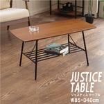 【2個セット】センターテーブル(ブラウン/茶) 幅85cm ローテーブル/机/収納棚付き/スチール/アイアン/黒/木目/木製/モダン/ウォールナット/ミッドセンチュリー/JST-06 の画像