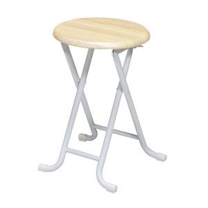 ヴィンテージスツール(ナチュラル/白) 折りたたみ椅子/カウンターチェア/スチール/イス/スツール/コンパクト/スリム/キッチン/パイプイス/モダン/レトロ/カフェ/木目/木/完成品/NK-113 の画像