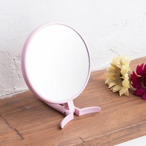 【24個セット】手鏡 BALLOON(パステルピンク)  ミラー/鏡/卓上ミラー/2WAY/3倍鏡/ミニサイズ/メイク/スリム/飛散防止加工/角度調整可能/業務用/完成品/NK-295