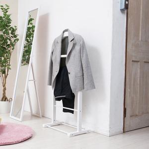 木製スーツラック(ホワイト/白) ハンガーラック/衣類収納/スリム/学生服/スラックス掛け/北欧風/ナチュラル/モダン/NK-914