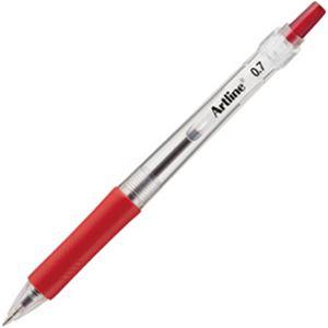 (業務用セット) ノック式油性ボールペン ボール径:0.7mm 赤 1本 【×50セット】