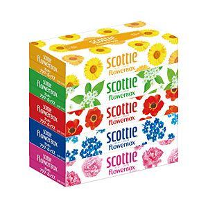 (業務用セット)クレシアスコッティティシューペーパー花柄1パック(5箱)【×10セット】