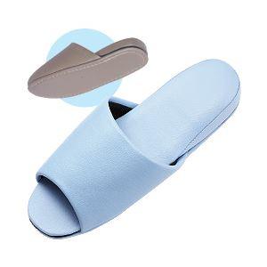 (業務用セット) 抗菌 レザー調スリッパ 前開きタイプ ブルー 【×5セット】