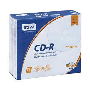 (業務用セット) ativa CD-R 700MB ホワイトレーベル 個別ケース 10枚入 【×5セット】 h01