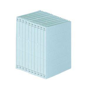(業務用セット) FAMS フラットファイル 樹脂ファスナー 10冊入 A5タテ・ブルー 【×5セット】