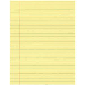 オフィスデポオリジナル レターサイズ・横罫 リーガルパッド糊綴じ イエロー 1パック(50枚×12冊)