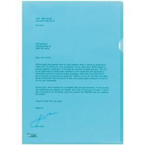 オフィスデポオリジナル 薄型クリアホルダーA4 エンボス加工 ブルー 1小箱(100枚)