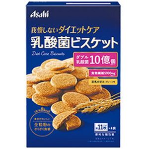 (まとめ)アサヒ リセットボディ 乳酸菌ビスケット プレーン味 1箱(約11枚×4袋)【×10セット】