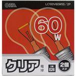 (まとめ)オーム電機 クリア電球 E26口金  クリア・60W  1パック(2個) 型番:LC100V60W55/2P【×20セット】