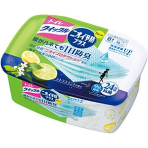 (まとめ)花王 トイレクイックルニオイ予防プラス シトラスミント 容器 1個(8枚)【×10セット】