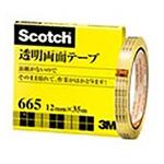 (業務用セット) 住友スリーエム スコッチ(R)透明両面テープ 裏紙(はく離紙)なし 665-3-12 1巻入 【×2セット】