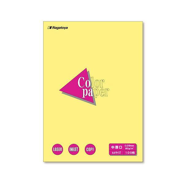 (業務用セット) Nagatoya カラーペーパー A4判 中厚口 ナ-3203 クリーム 100枚入 【×5セット】f00