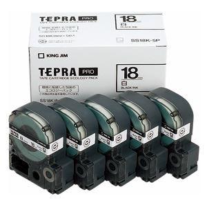 キングジム テプラPROテープエコパック 白ラベル 5個入 SS18K-5P