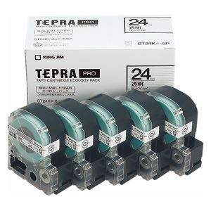 キングジム テプラPROテープエコパック 透明ラベル5個入 ST24K-5P