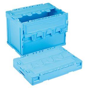 岐阜プラスチック工業 折りたたみコンテナー 蓋付 60L ブルー CF-S61NR B
