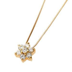 【鑑別書付】K18イエローゴールド 天然ダイヤダイヤモンドペンダント/ネックレス0.2ct フラワーモチーフ