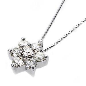 【鑑別書付】K18ホワイトゴールド 天然ダイヤダイヤモンドペンダント/ネックレス0.3ct フラワーモチーフ