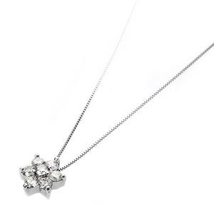 【鑑別書付】K18ホワイトゴールド 天然ダイヤネックレス ダイヤモンドペンダント/ネックレス0.3ct フラワーモチーフ h02