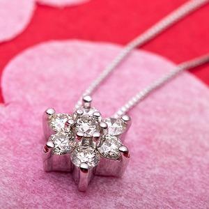 【鑑別書付】K18ホワイトゴールド 天然ダイヤネックレス ダイヤモンドペンダント/ネックレス0.3ct フラワーモチーフ f04