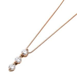 【鑑別書付】ダイヤモンドペンダント/ネックレス 0.24ct スリーストーン K18 ピンクゴールド ダイヤ3ストーン 鑑別書付き h02