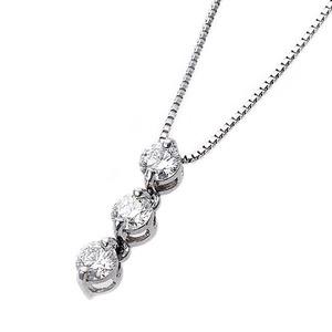 【鑑別書付】ダイヤモンドペンダント/ネックレス 0.24ct スリーストーン K18 ホワイトゴールド ダイヤ3ストーン 鑑別書付き - 拡大画像