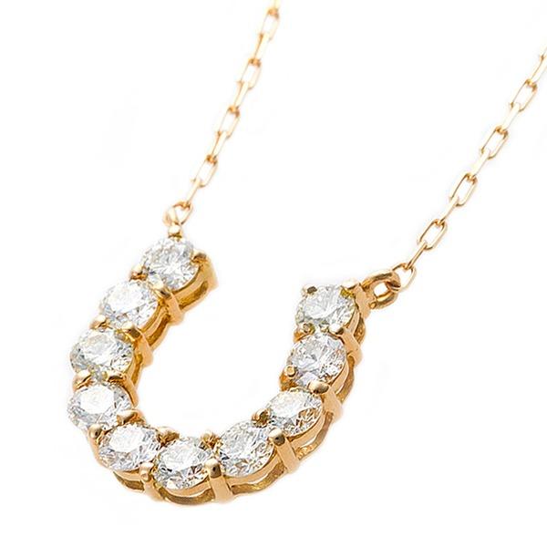 【鑑別書付】K18イエローゴールド 天然ダイヤネックレス ダイヤモンドペンダント/ネックレス0.5ct 馬蹄モチーフf00