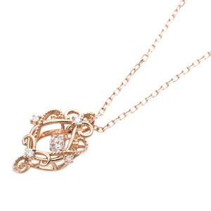 【鑑別書付】K18ピンクゴールド 天然ダイヤネックレス ダイヤモンドペンダント/ネックレス0.13ct フラワーモチーフ h02