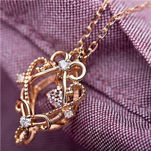 【鑑別書付】K18ピンクゴールド 天然ダイヤネックレス ダイヤモンドペンダント/ネックレス0.13ct フラワーモチーフ f04